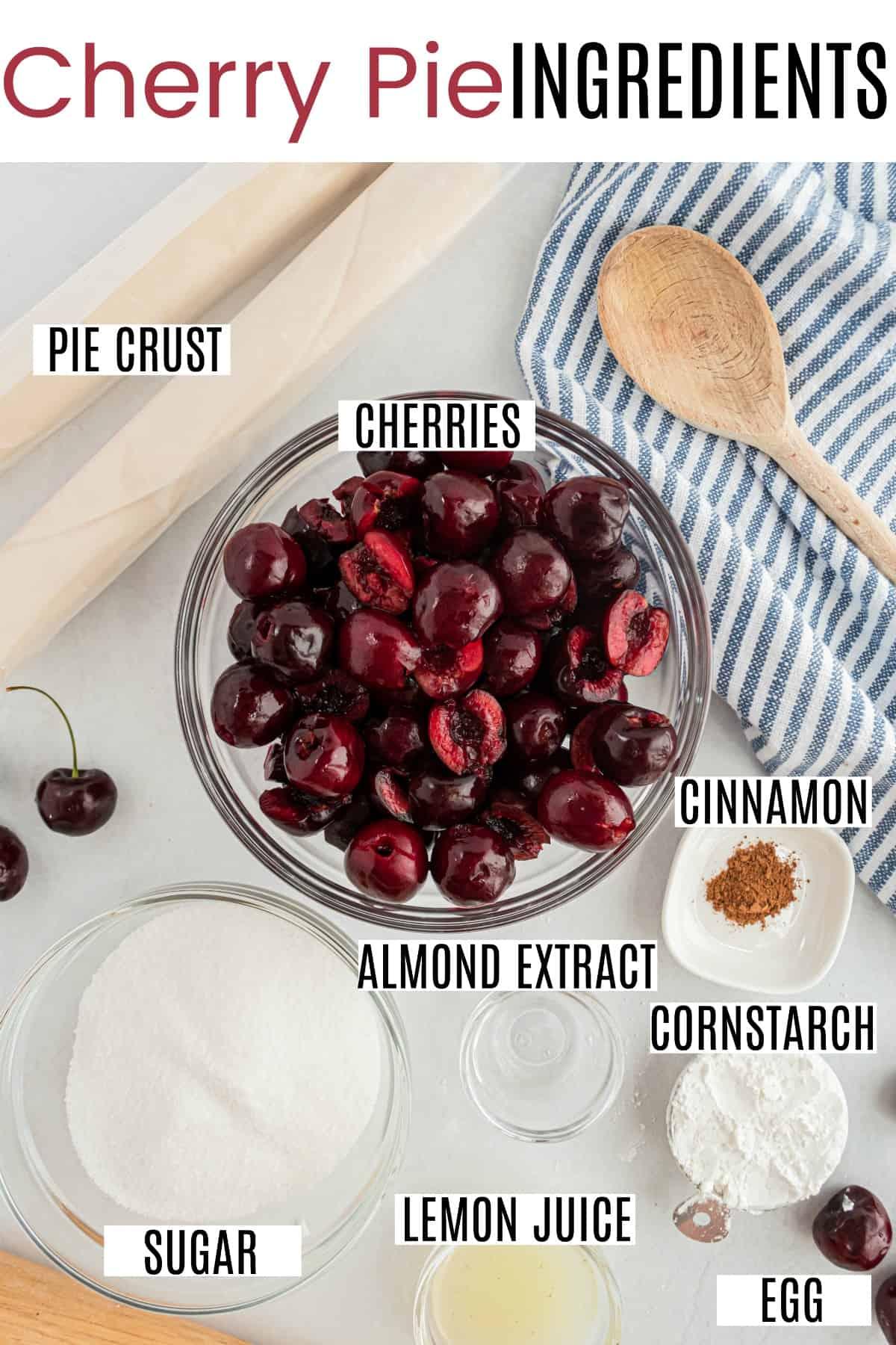 Cherry pie ingredients including pie crust, fresh cherries, and sugar.