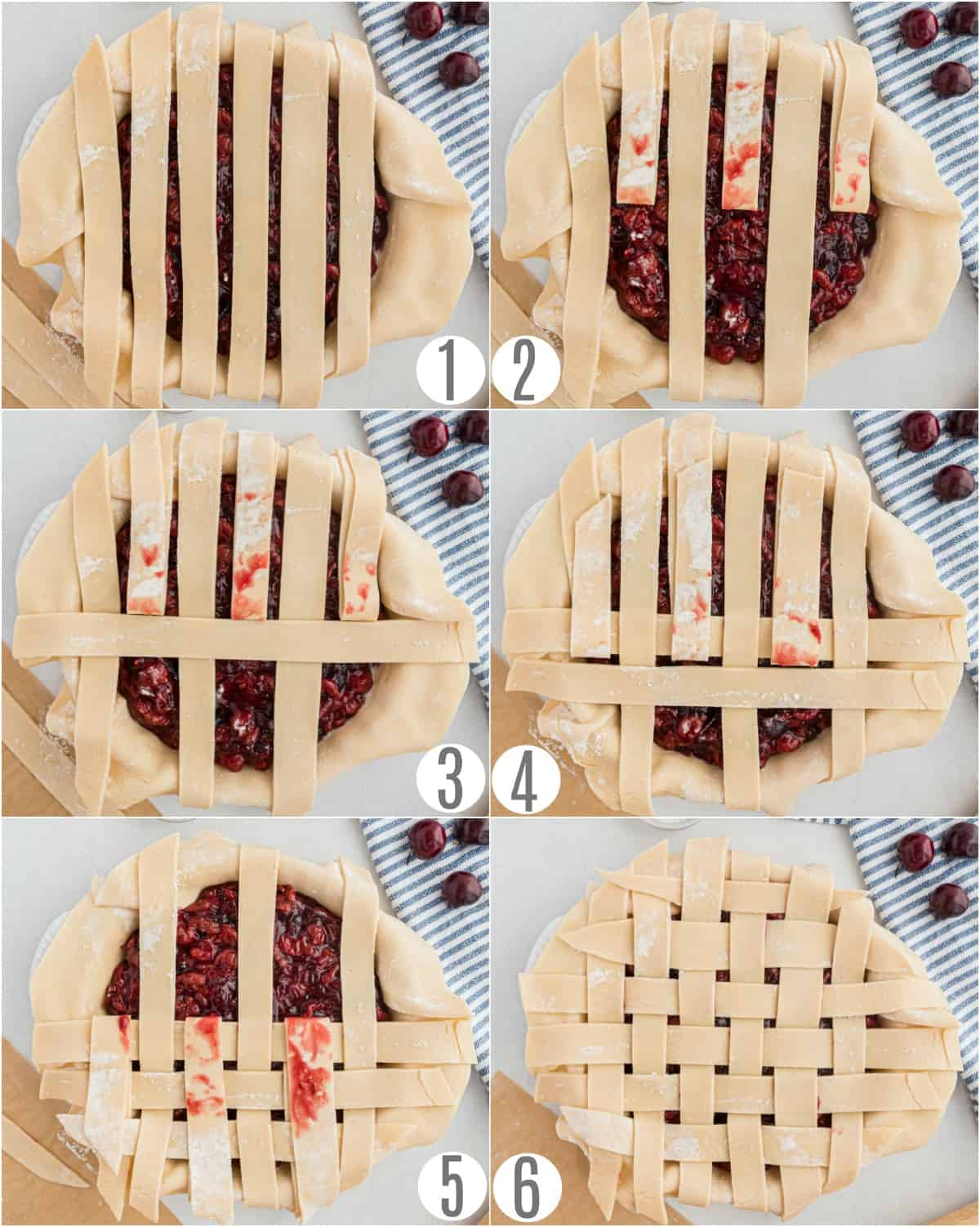 Step by step photos showing how to make a lattice pie crust.