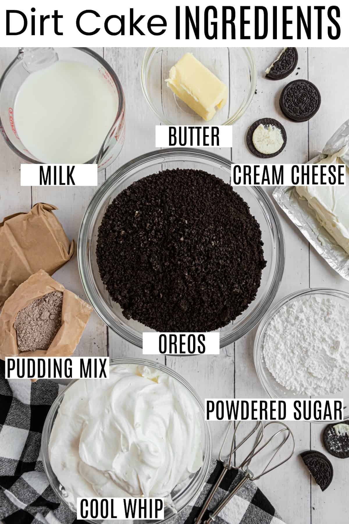 Dirt cake ingredients in small glass bowls, including oreos, pudding, and cool whip.