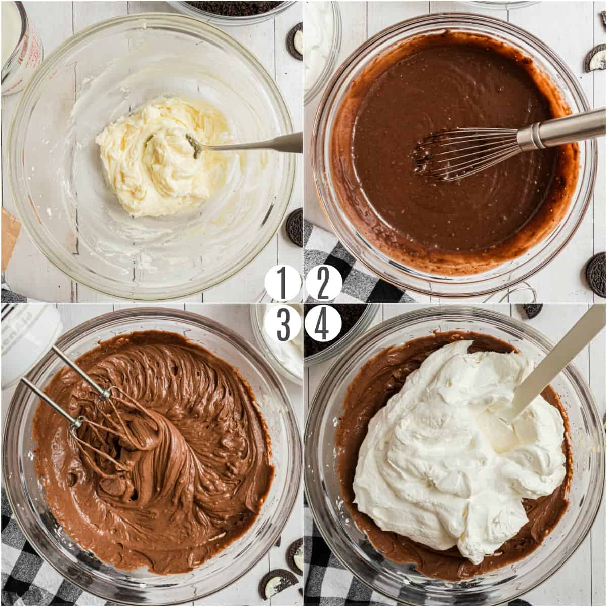 Step by step photos showing how to make dirt pudding cake.