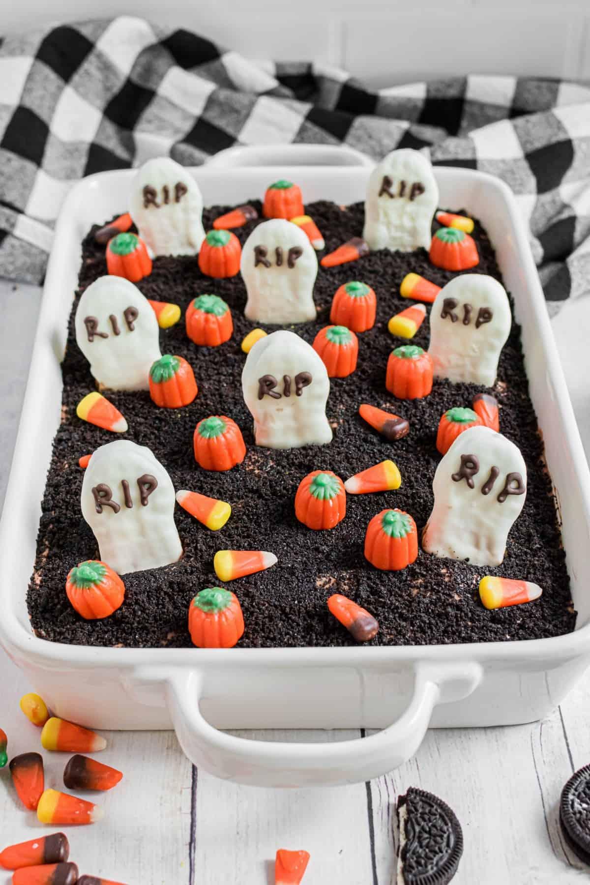 13x9 baking dish with graveyard dirt pudding cake.