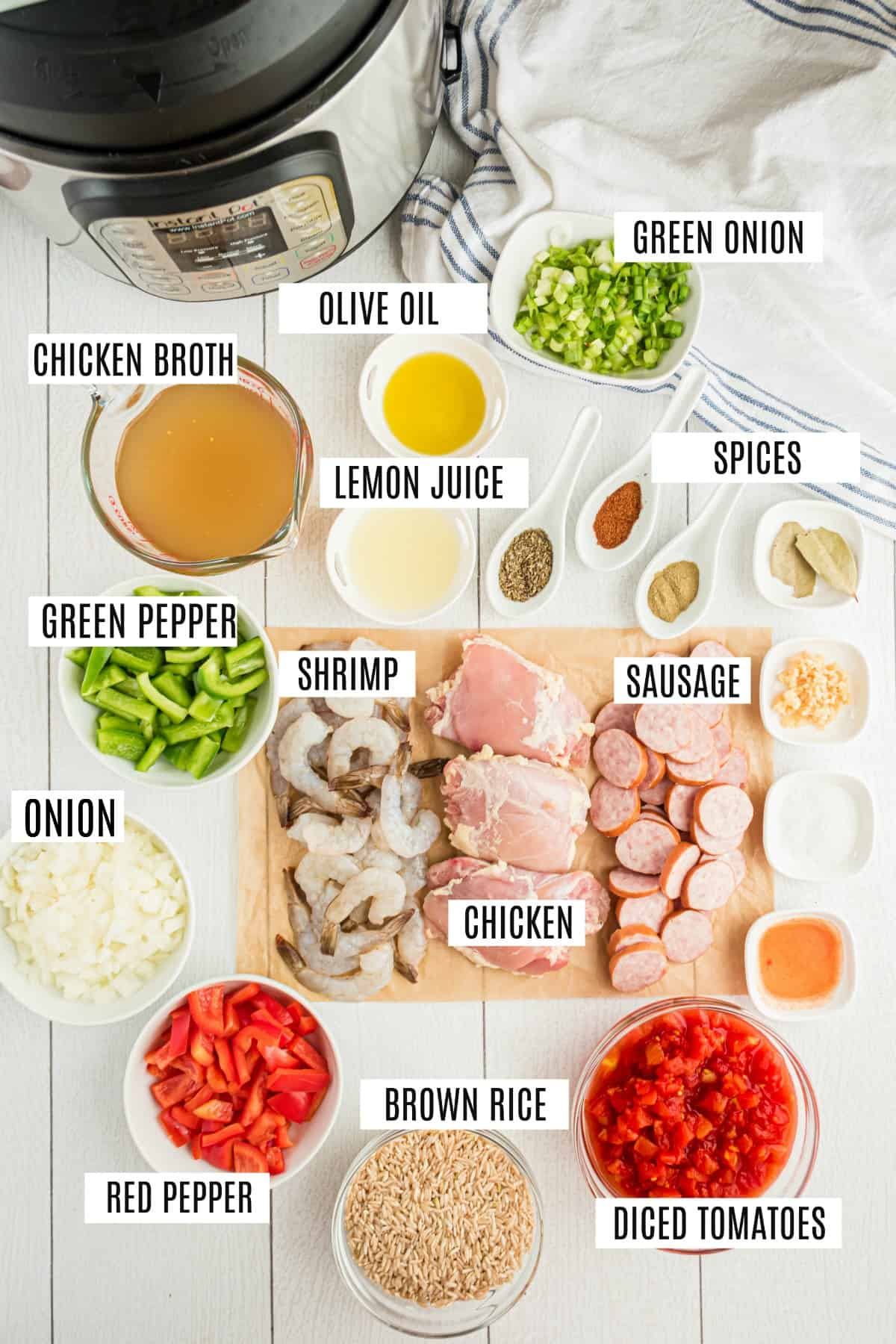 Ingredients needed to make Jambalaya in the Instant Pot, including sausage, chicken, and shrimp.