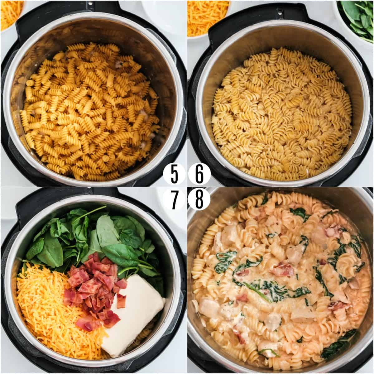 Step by step photos showing how to finish making crack chicken pasta in Instant Pot.
