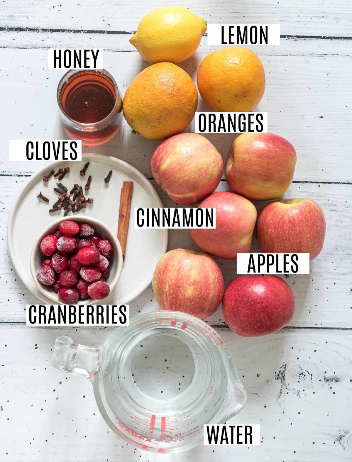 Ingredients needed to make homemade apple cider.