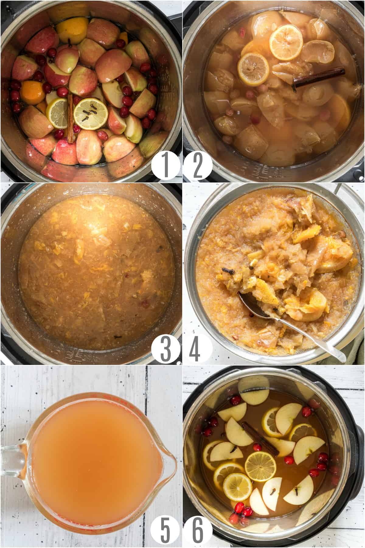 Step by step instructions showing how to make apple cider in the pressure cooker.