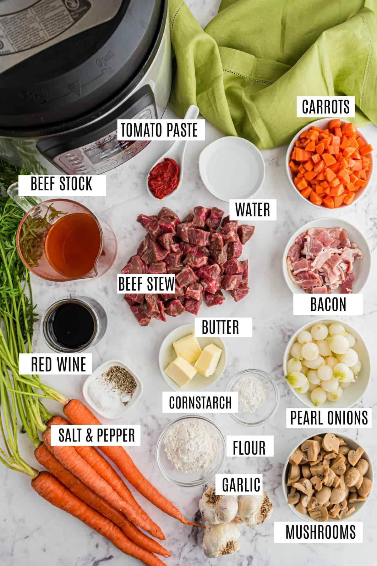 Ingredients needed to make instant pot beef bourguignon.
