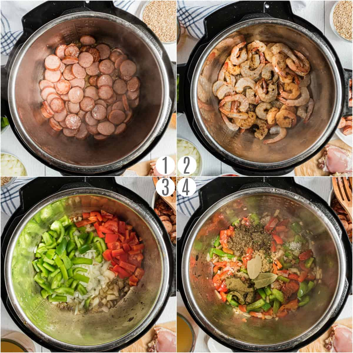 Step by step photos showing how to make jambalaya in the pressure cooker.