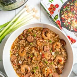 Bowl of jambalaya made in the Instant Pot with the Well Plated cookbook.