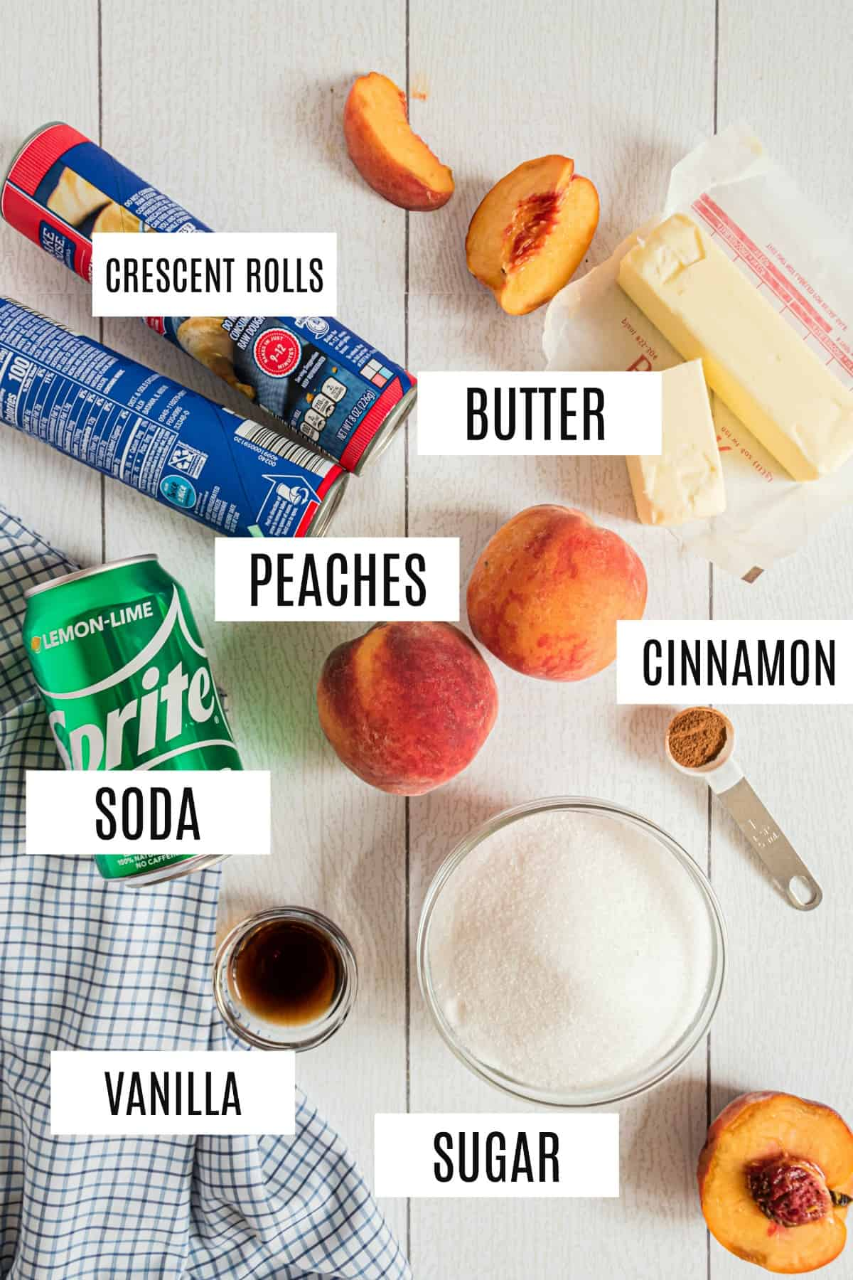Ingredients needed for peach dumplings included fresh peaches, crescent rolls, and Sprite.