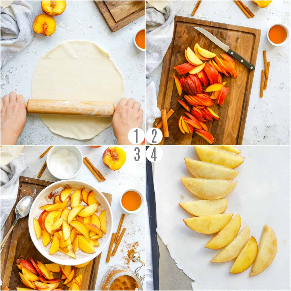 Step by step photos showing how to prepare a peach galette recipe.