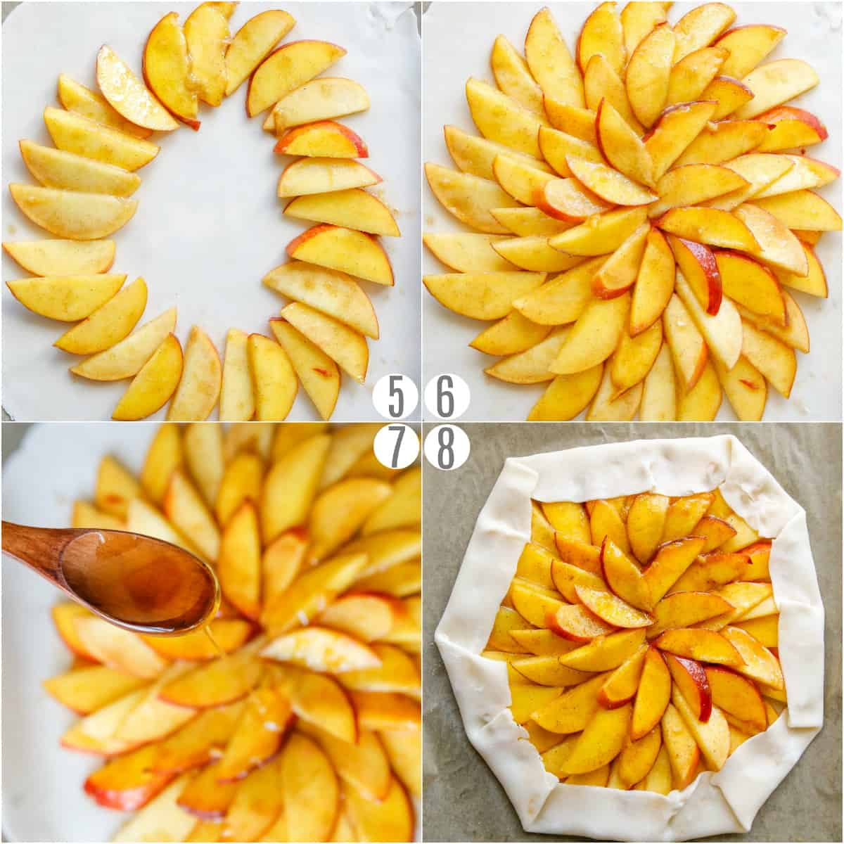 Step by step photos showing to to arrange peaches on a galette crust.