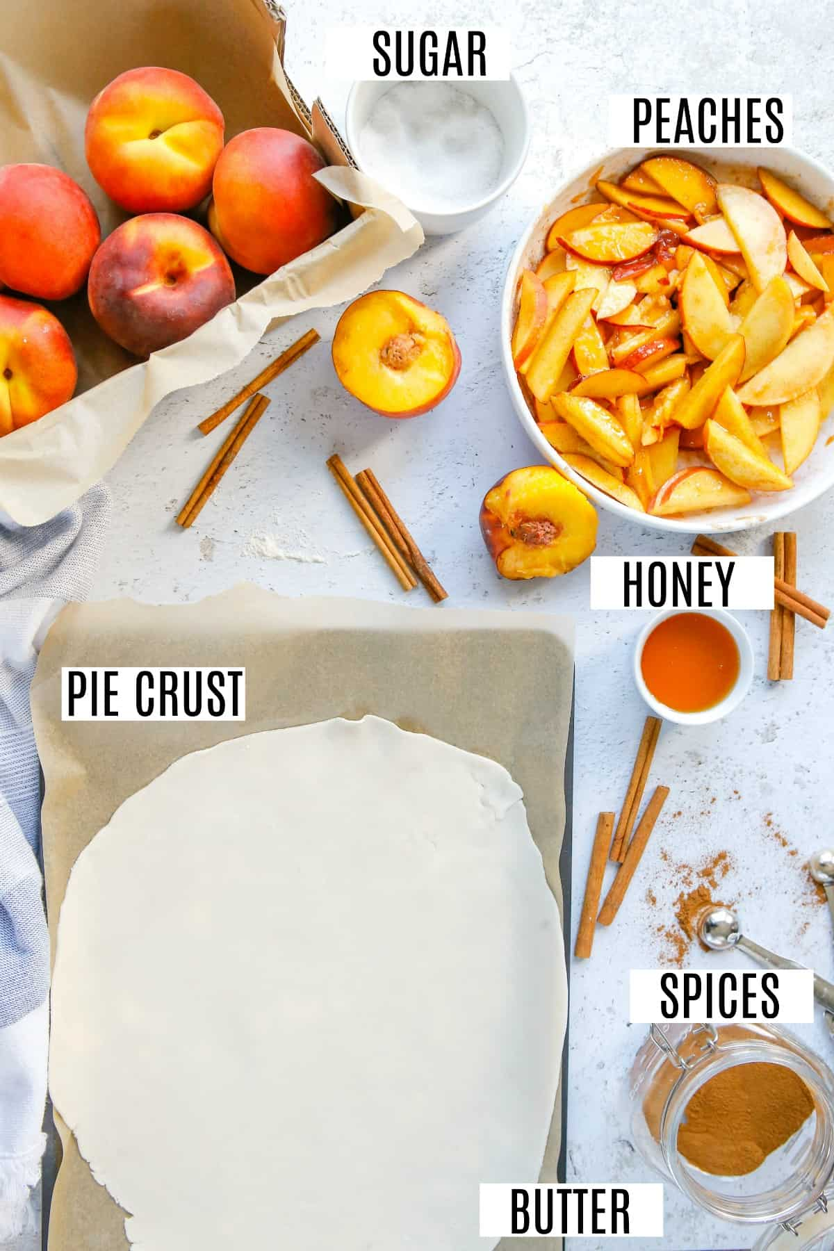 Overhead shot of ingredients needed for peach galette.