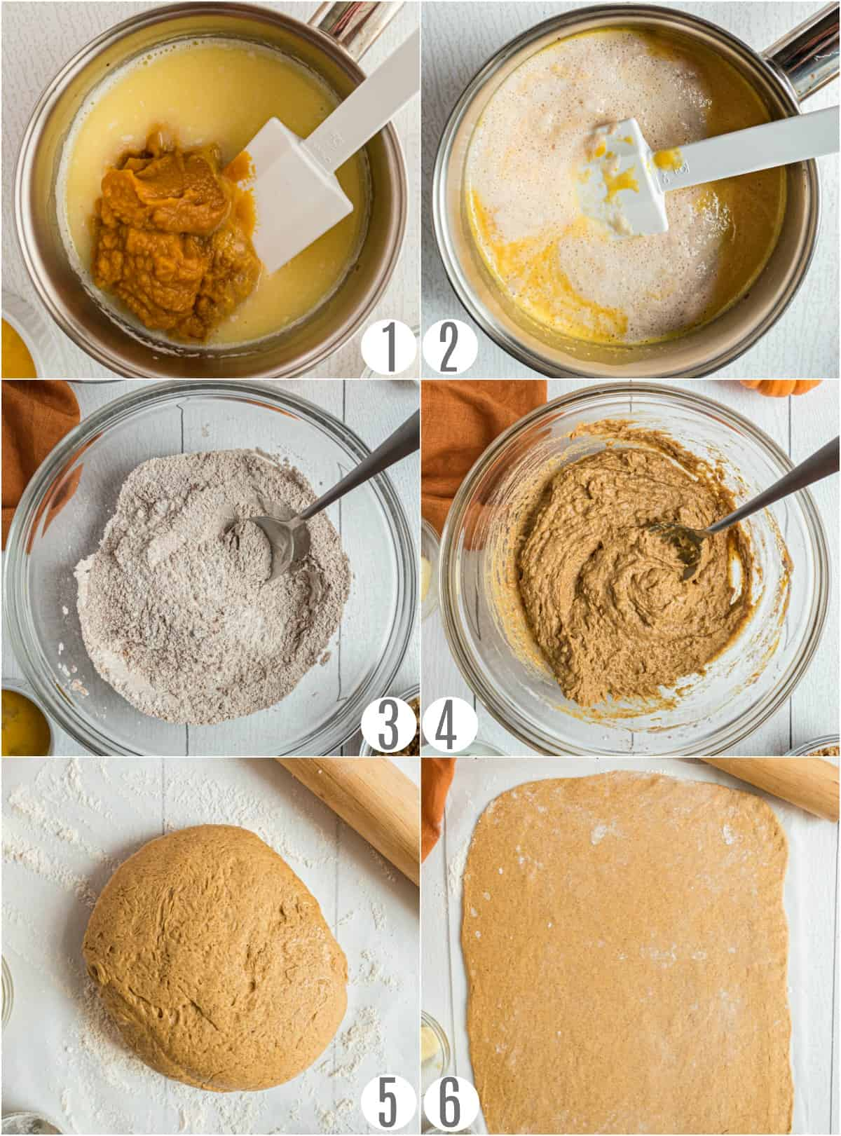 Step by step photos showing how to make pumpkin cinnamon roll dough.