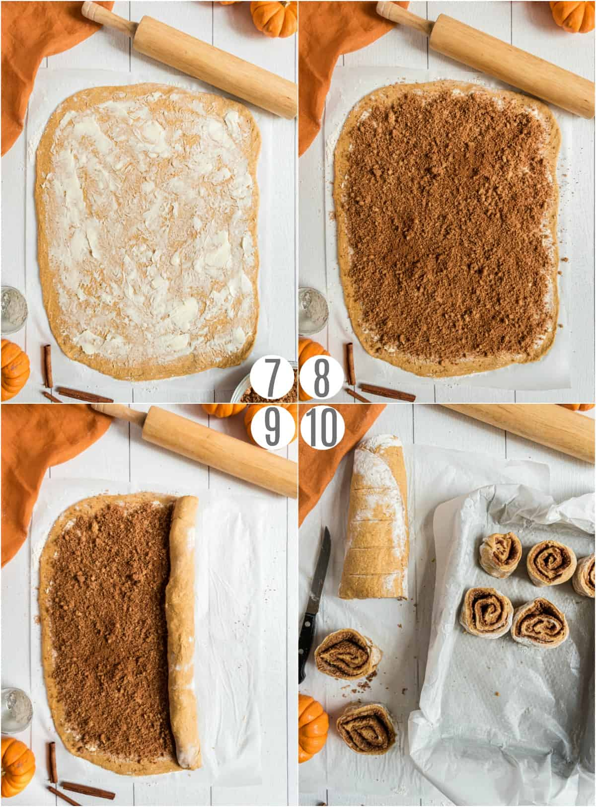 Step by step photos showing how to add filling to pumpkin cinnamon rolls and roll the dough.