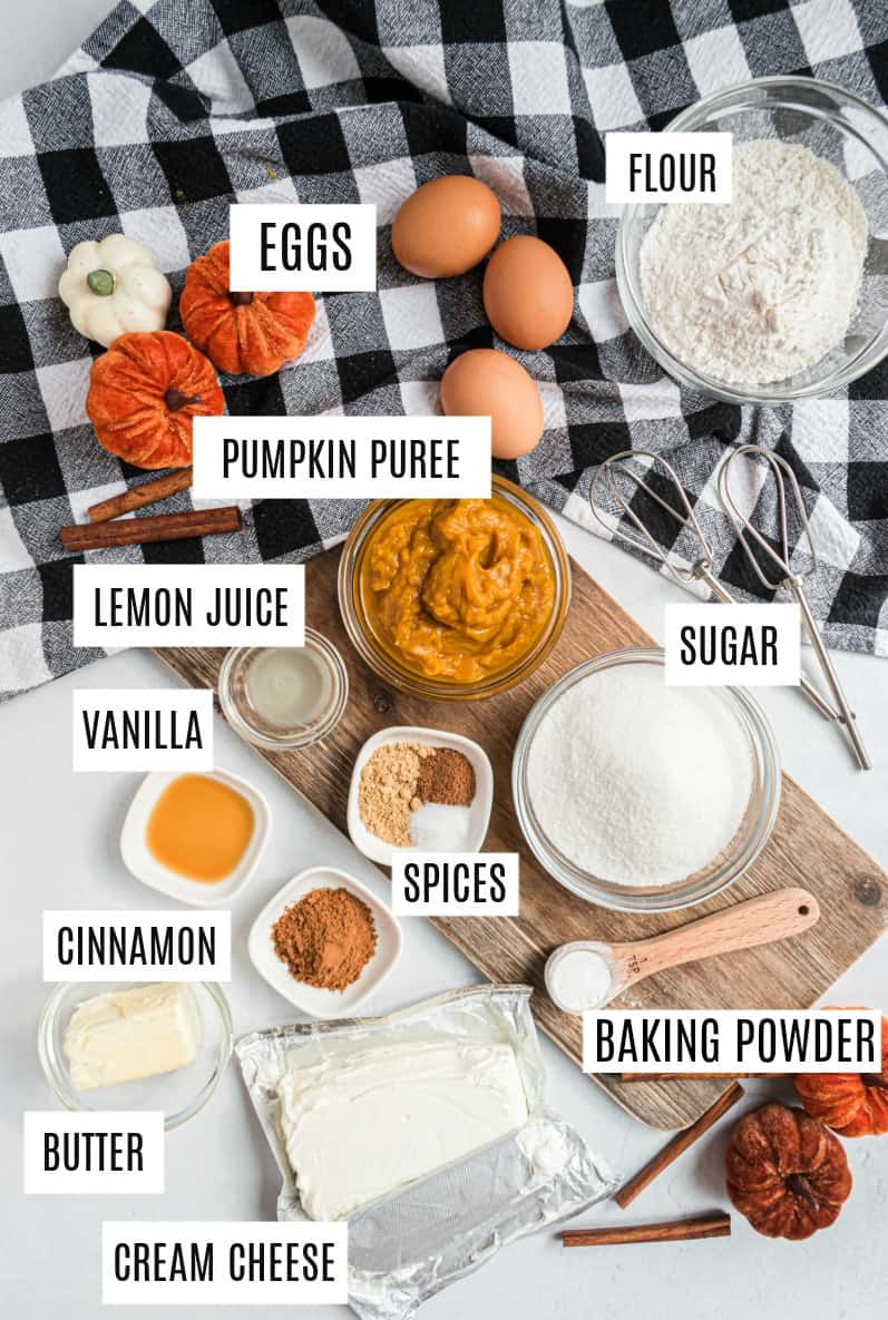 Ingredients needed to make a pumpkin roll with cream cheese filling.