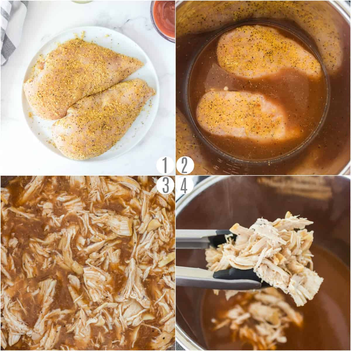 Step by step photos showing how to make shredded chicken in the pressure cooker.