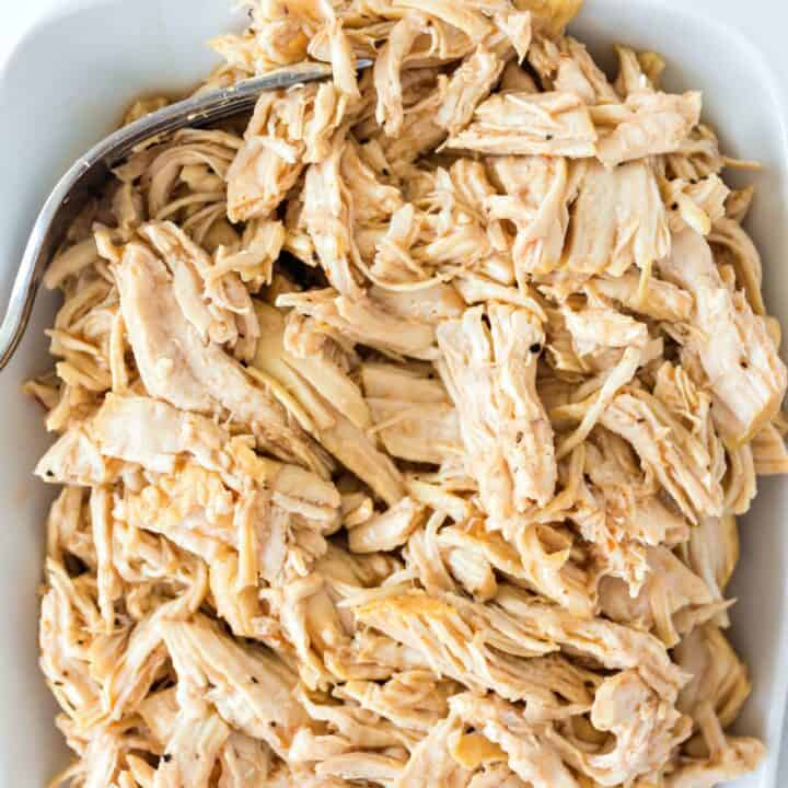 Shredded chicken made in the pressure cooker.
