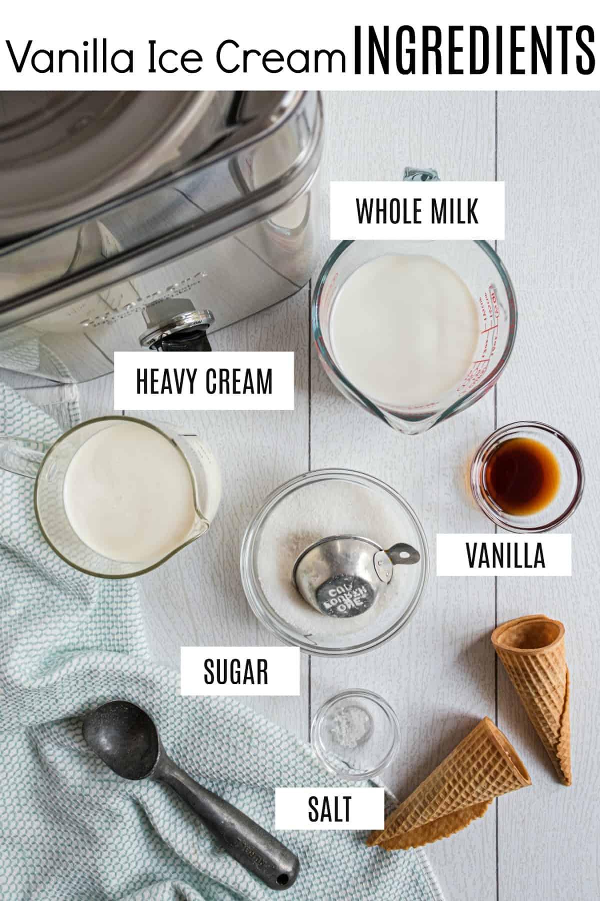 Ingredients needed to make homemade vanilla ice cream in an ice cream maker.