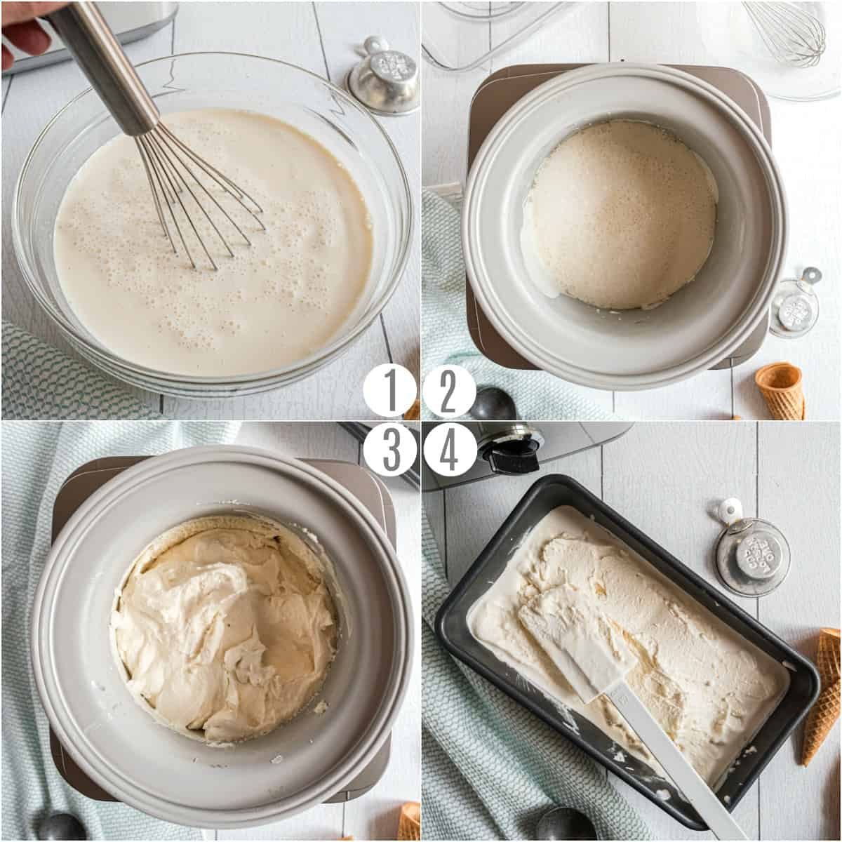 Step by step photos showing how to make homemade ice cream.