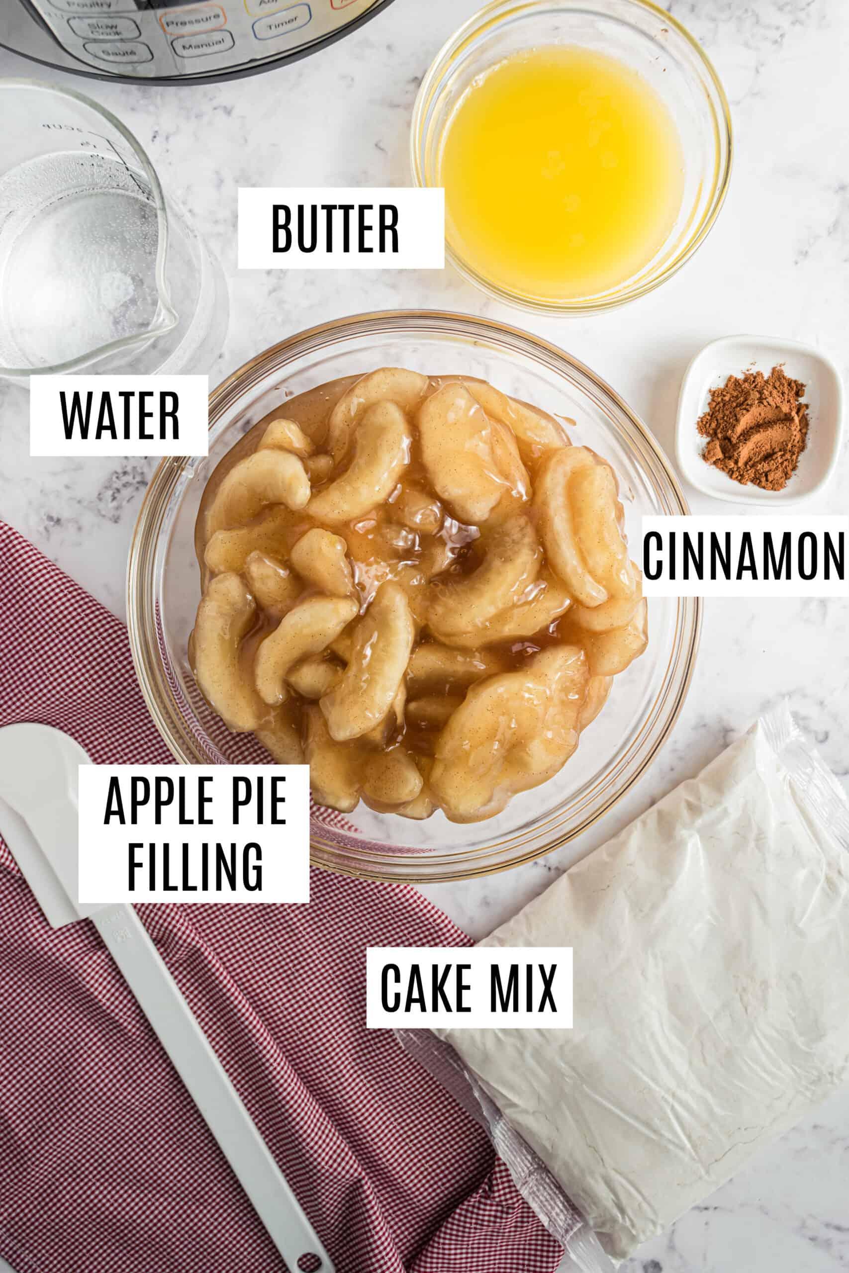 Ingredients to make instant pot apple cobbler recipe.
