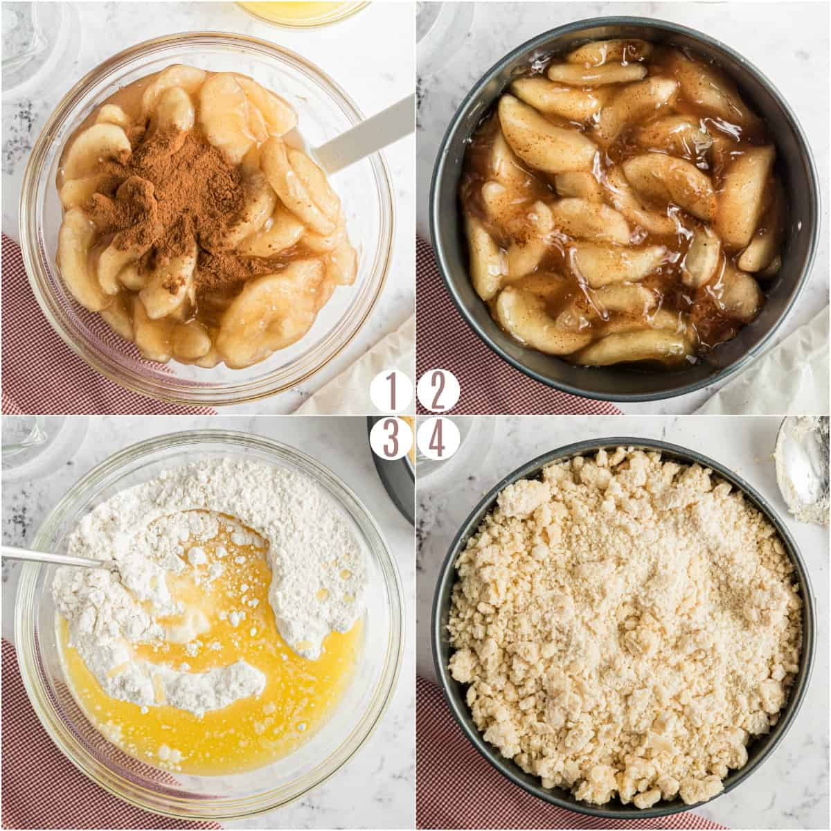 Step by step photos showing how to make apple cobbler in the pressure cooker.