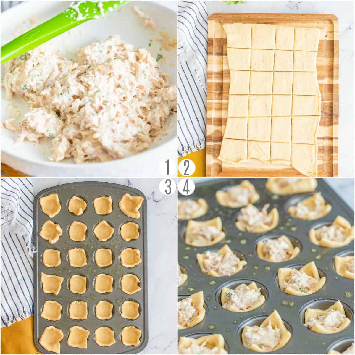 Step by step photos showing how to make crab puffs.