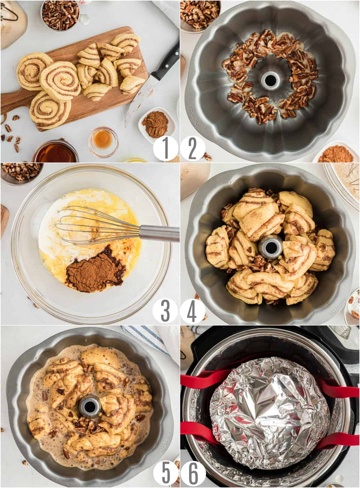 Step by step photos showing how to make cinnamon roll bread in the pressure cooker.