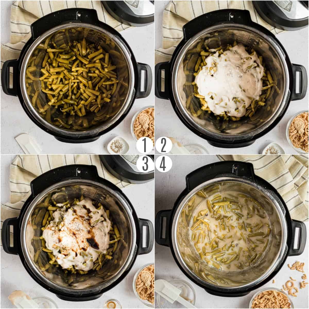Step by step photos showing how to make green bean casserole in the Instant Pot.