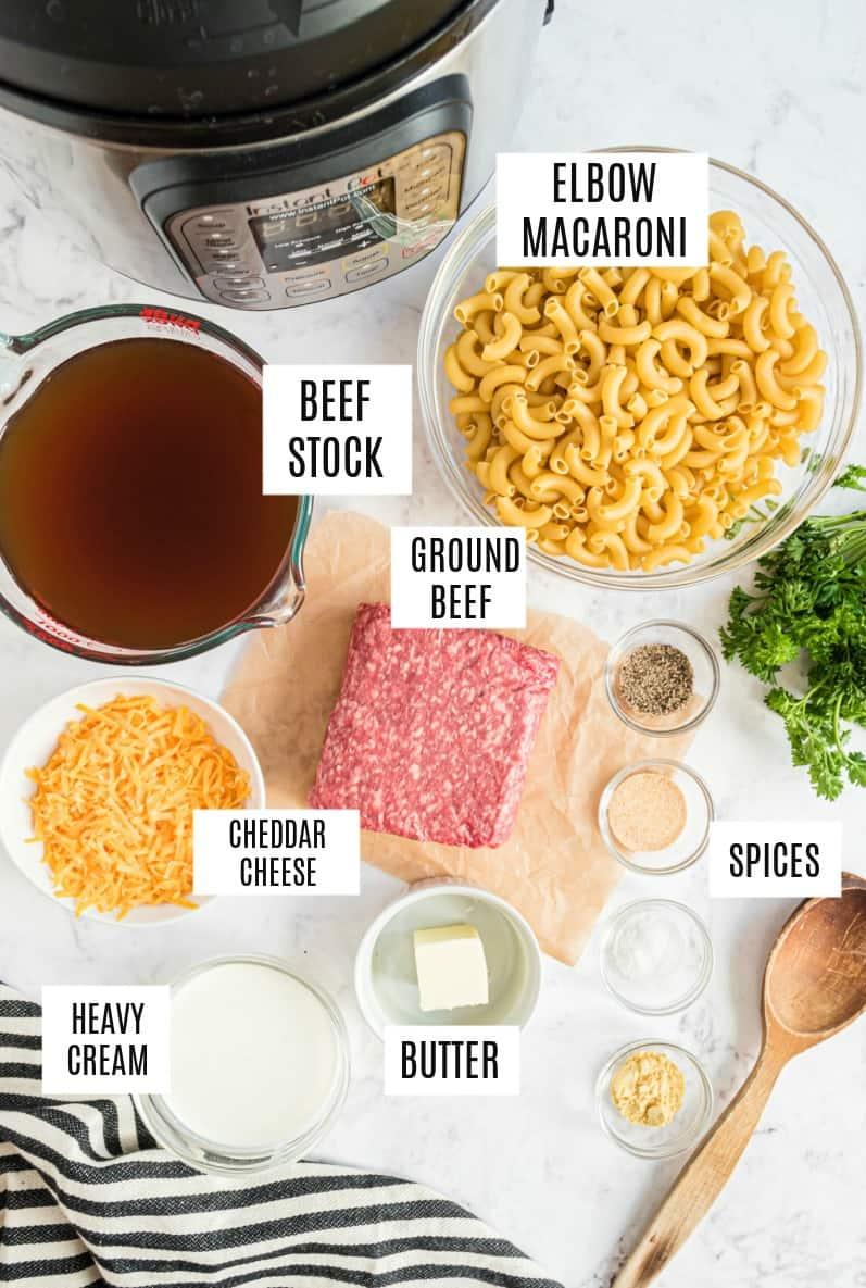 Ingredients needed for hamburger helper in the pressure cooker.