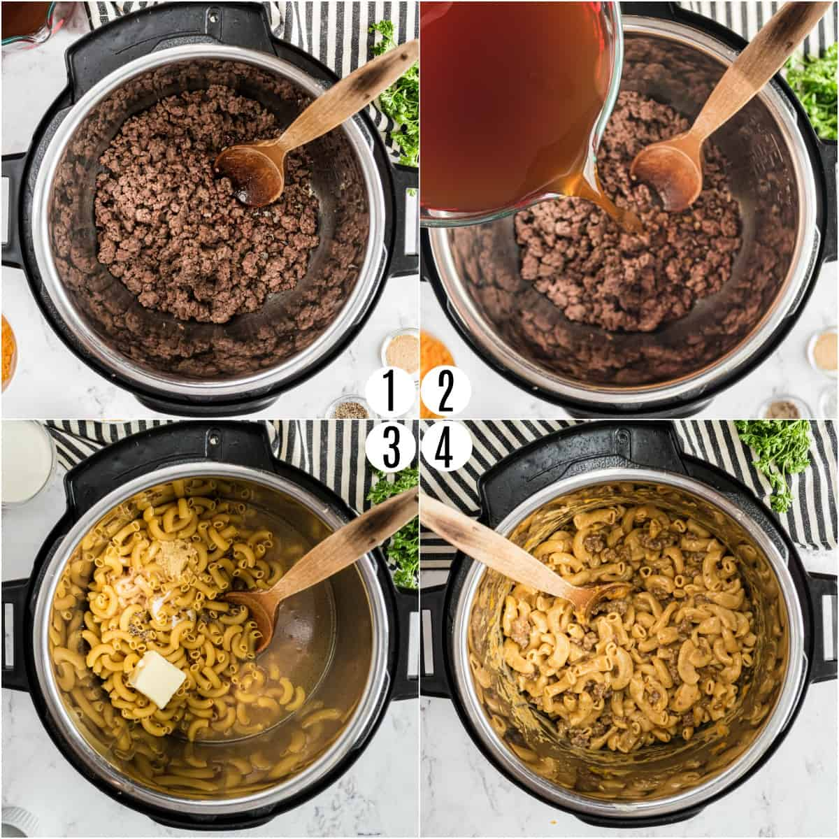 Step by step photos showing how to make hamburger helper in the Instant Pot.