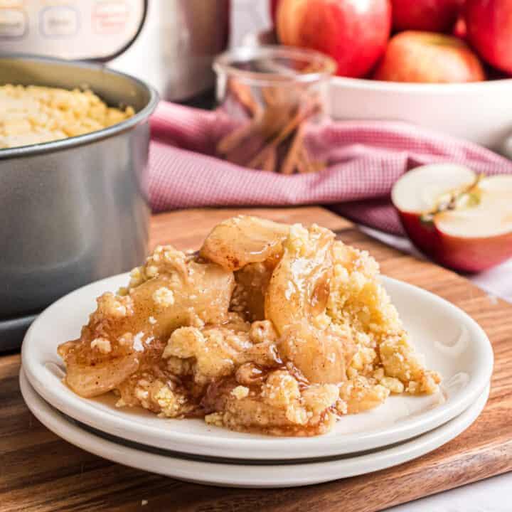 Apple cobbler on a dessert plate.