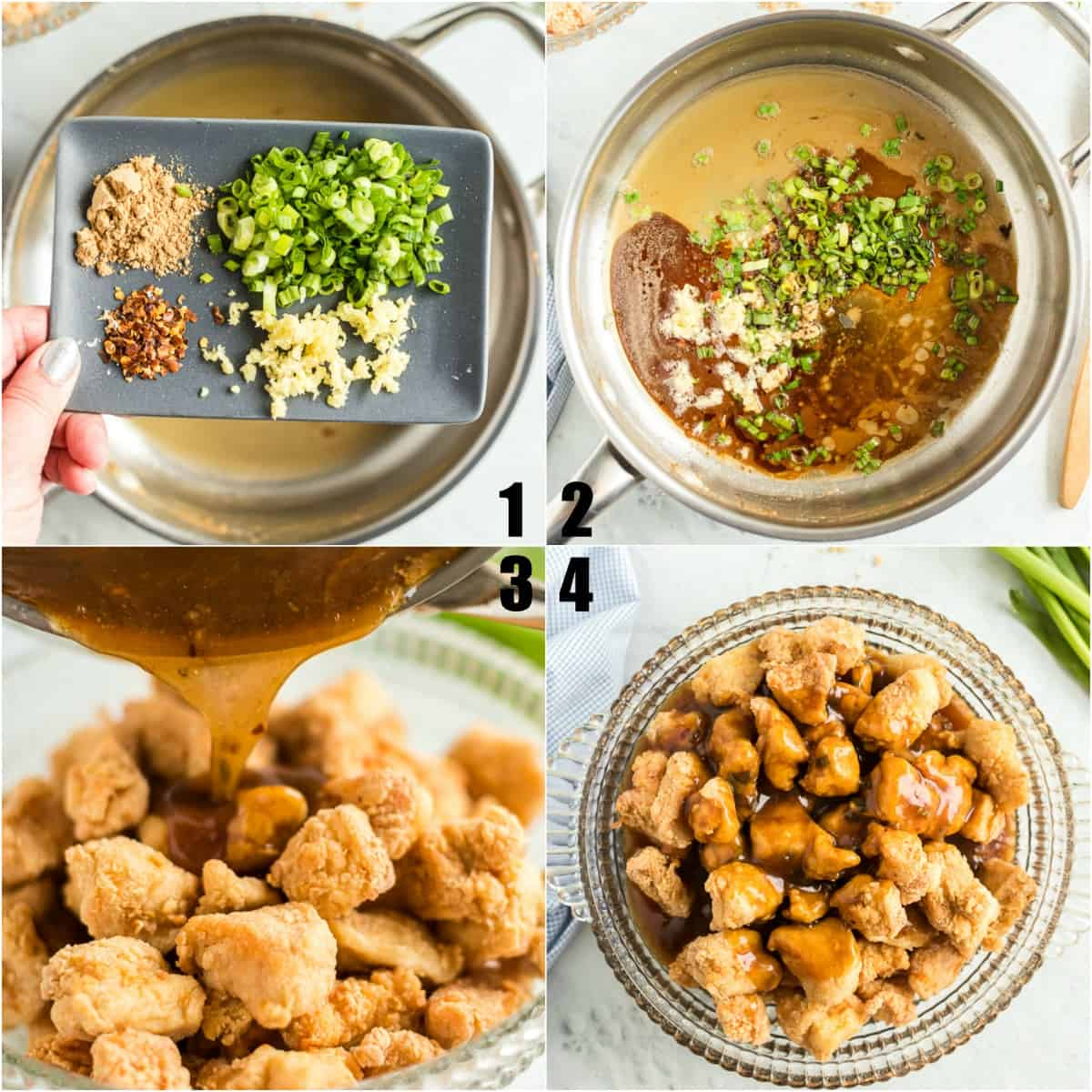 Step by step photos showing how to make orange chicken.