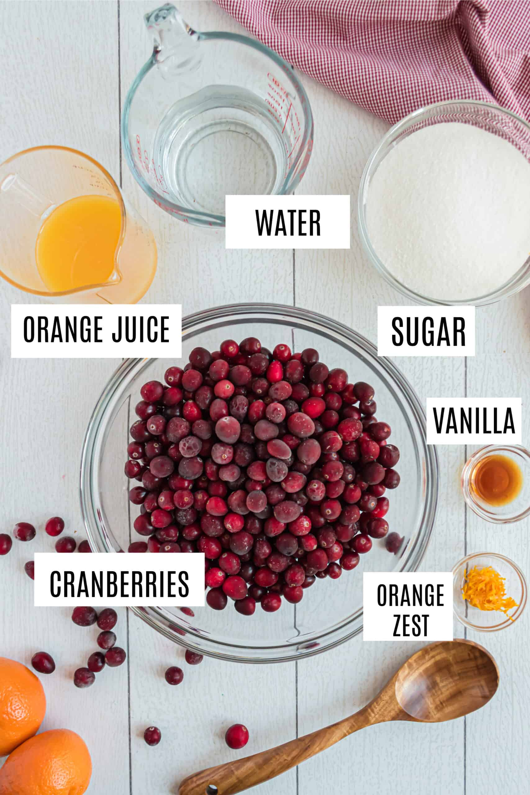 Ingredients needed to make cranberry sauce from scratch.