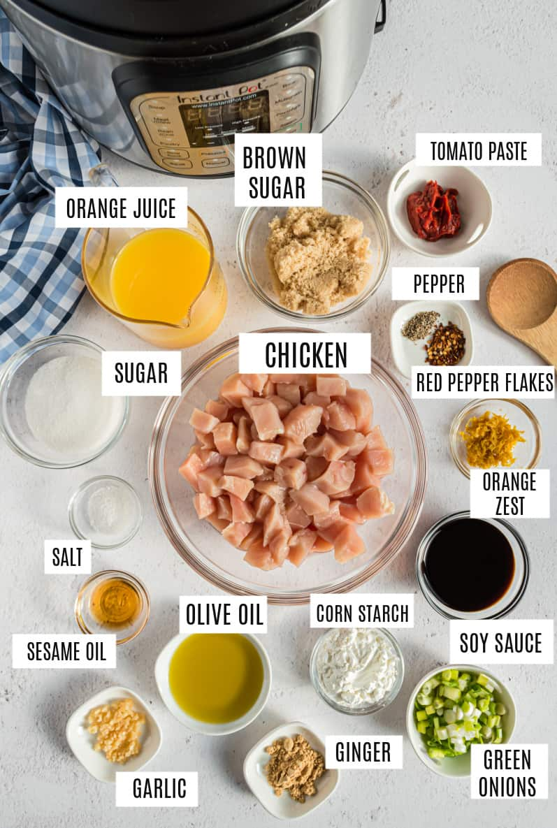 Ingredients need to make orange chicken in the pressure cooker.