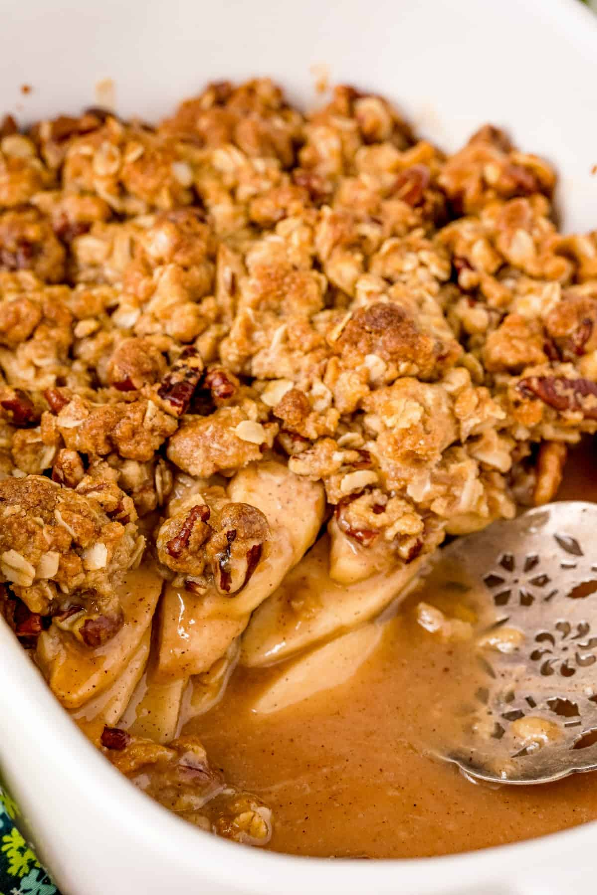 Caramel apple crisp in baking dish.