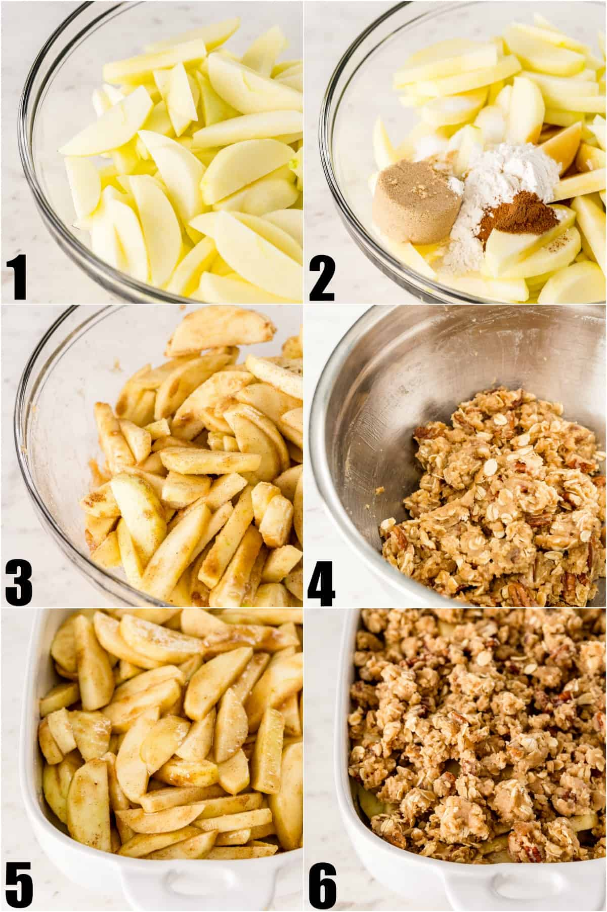 Step by step photos showing how to make apple crisp.