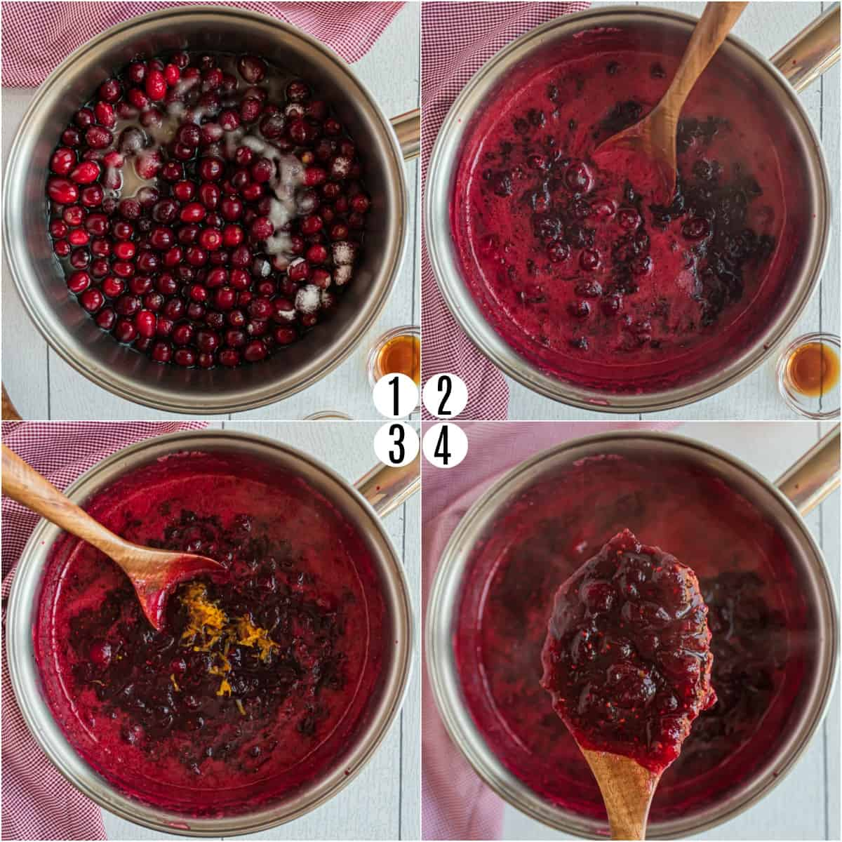 Step by step photos showing how to make cranberry sauce from scratch.