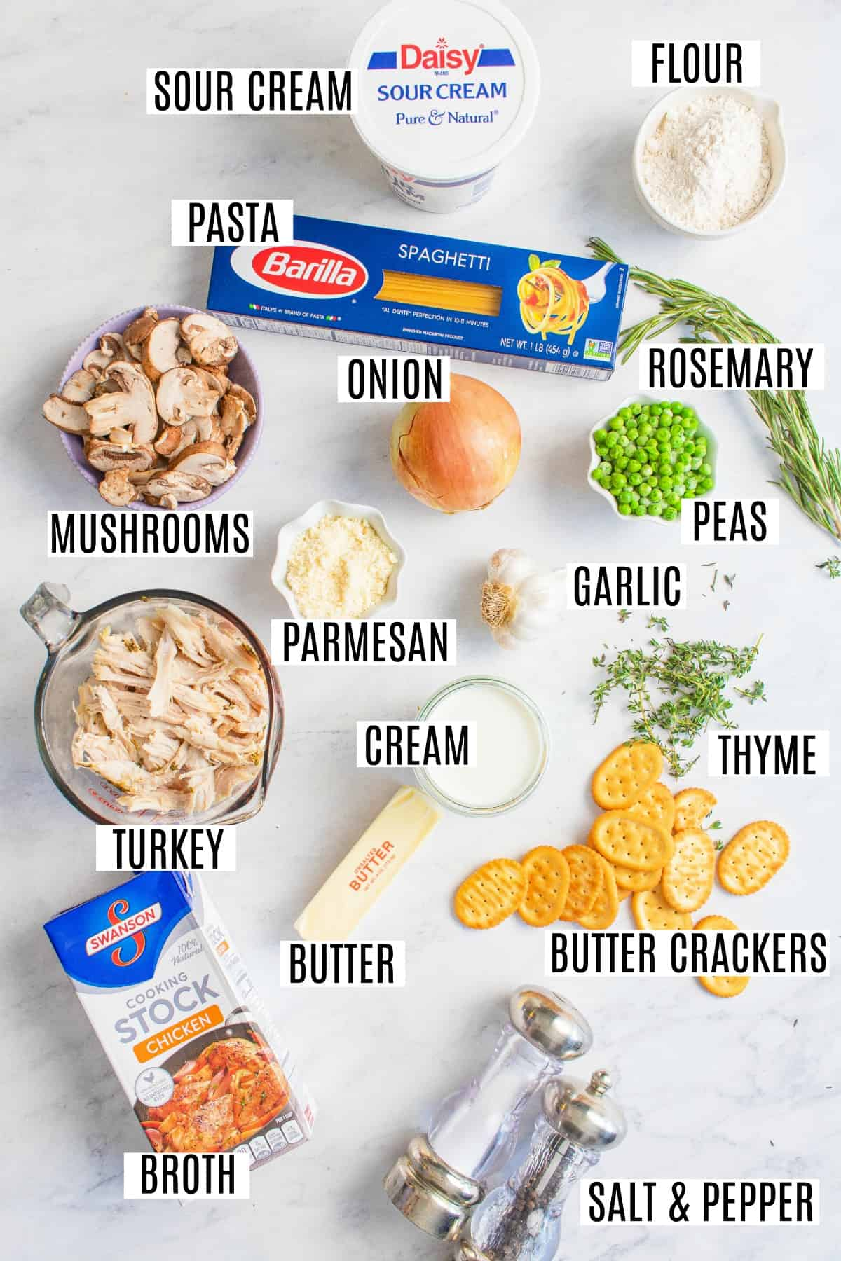 Ingredients needed for turkey tetrazzini, including leftover turkey, broth, and pasta.