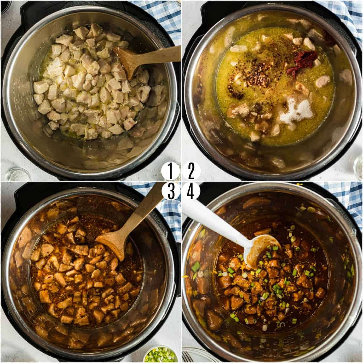 Step by step photos showing how to make orange chicken in the pressure cooker.