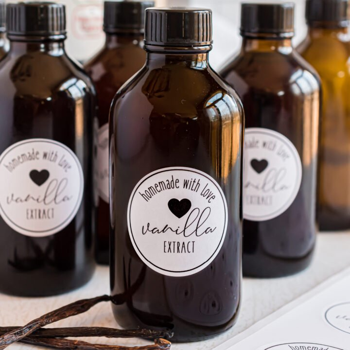 Small glass bottles of homemade vanilla extract.
