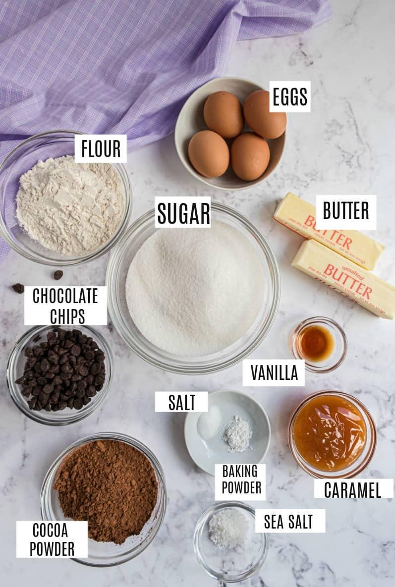 Ingredients needed to make salted caramel brownies.