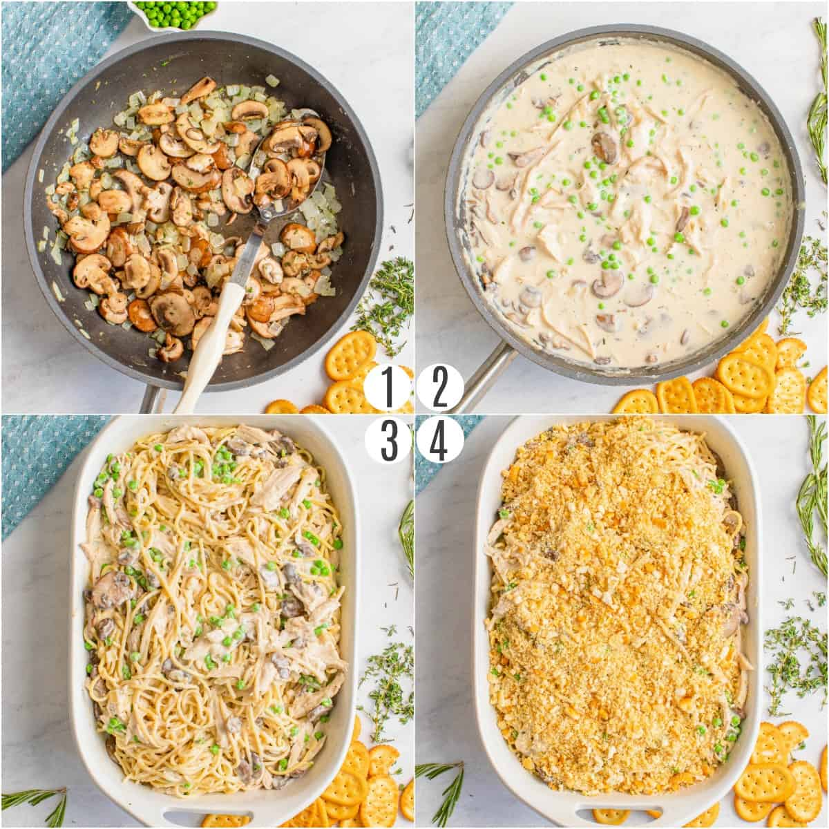 Step by step photos showing how to make turkey tetrazzini.