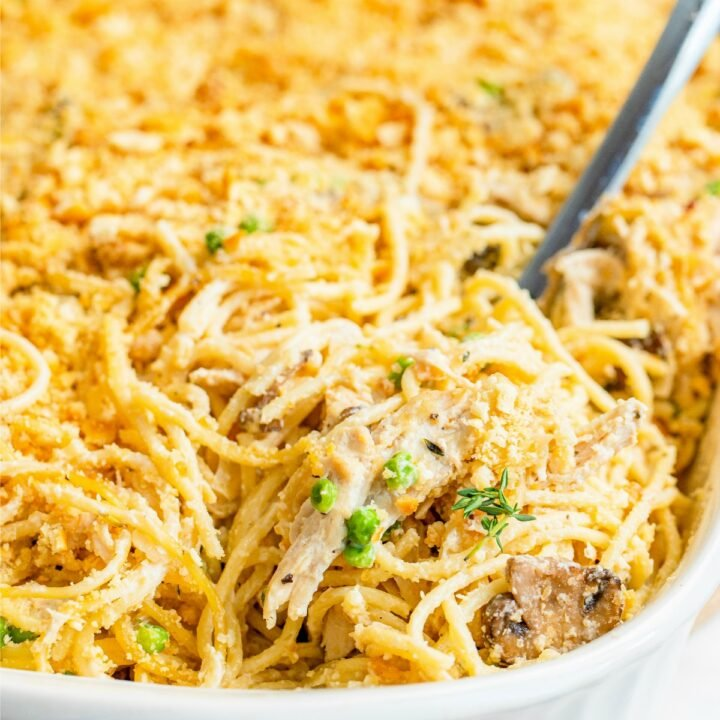 Turkey tetrazzini in a baking dish.