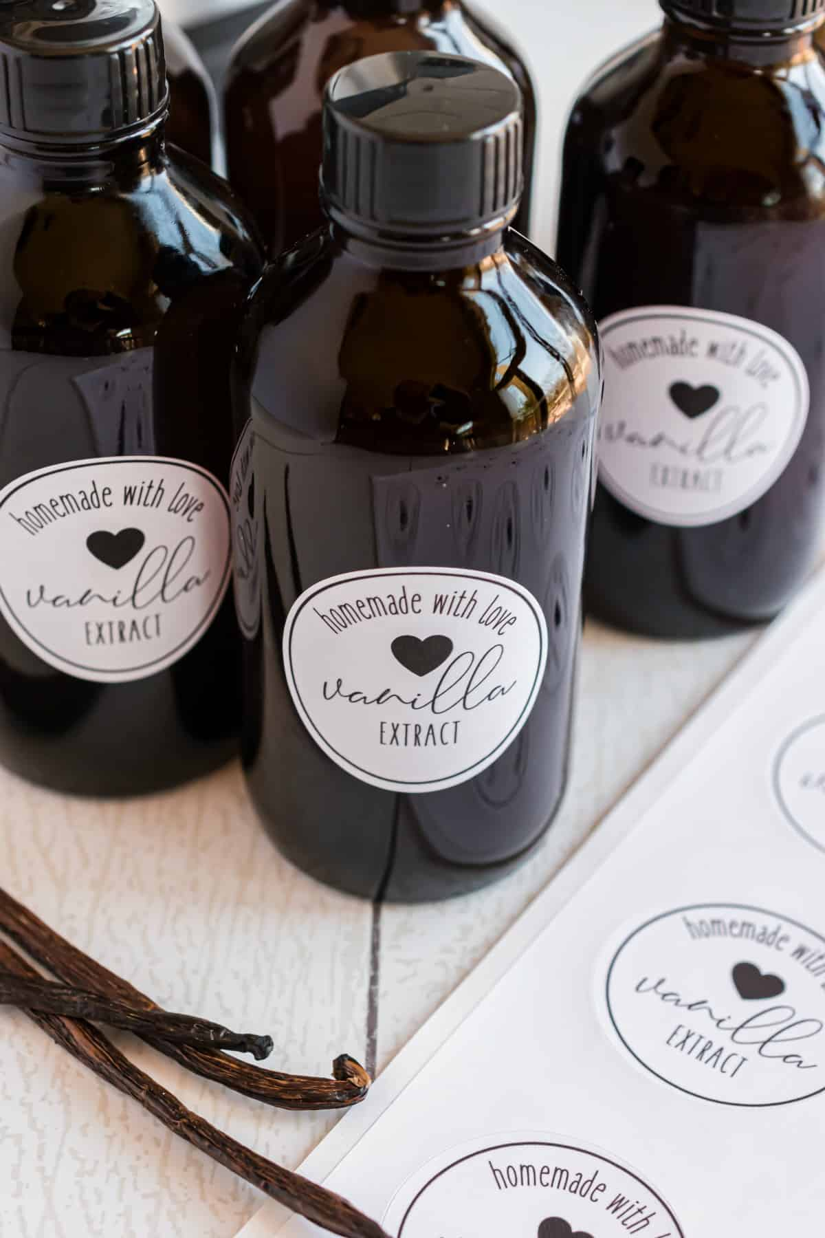 Vanilla extract in small bottles with homemade labels.