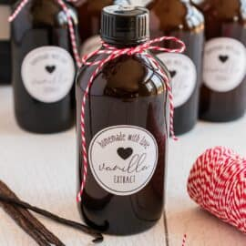 Homemade Vanilla Extract in glass bottles.