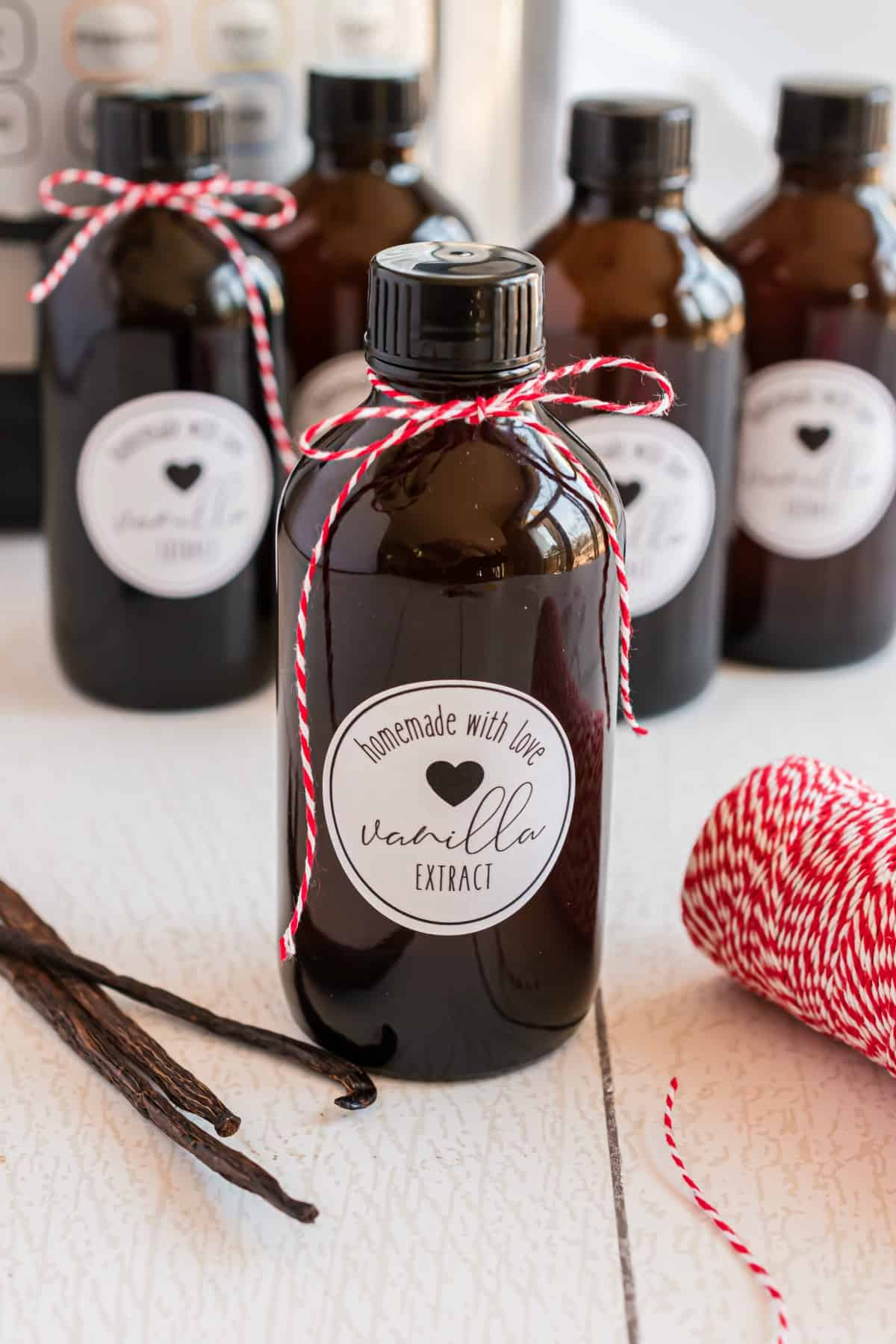 Homemade Vanilla Extract in glass bottles.