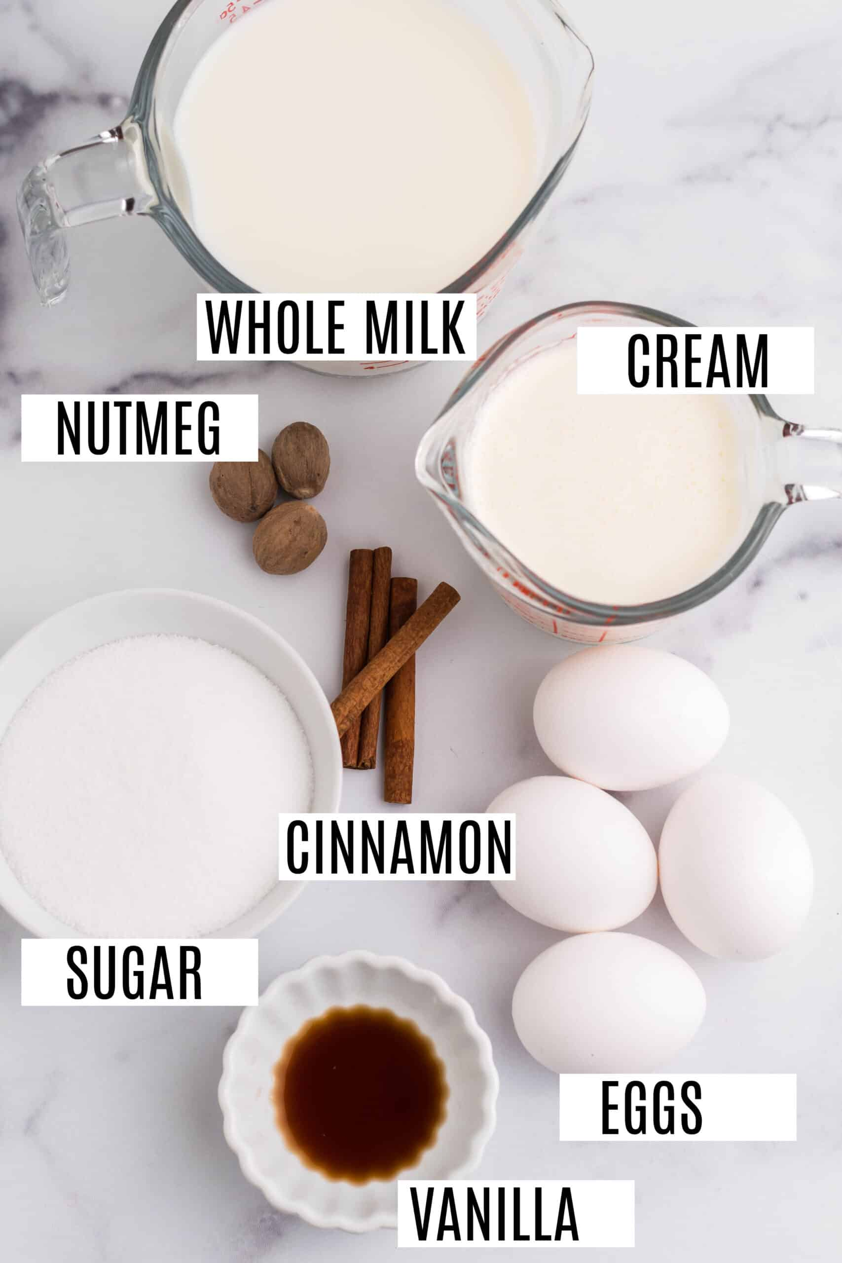 Ingredients needed for homemade eggnog.