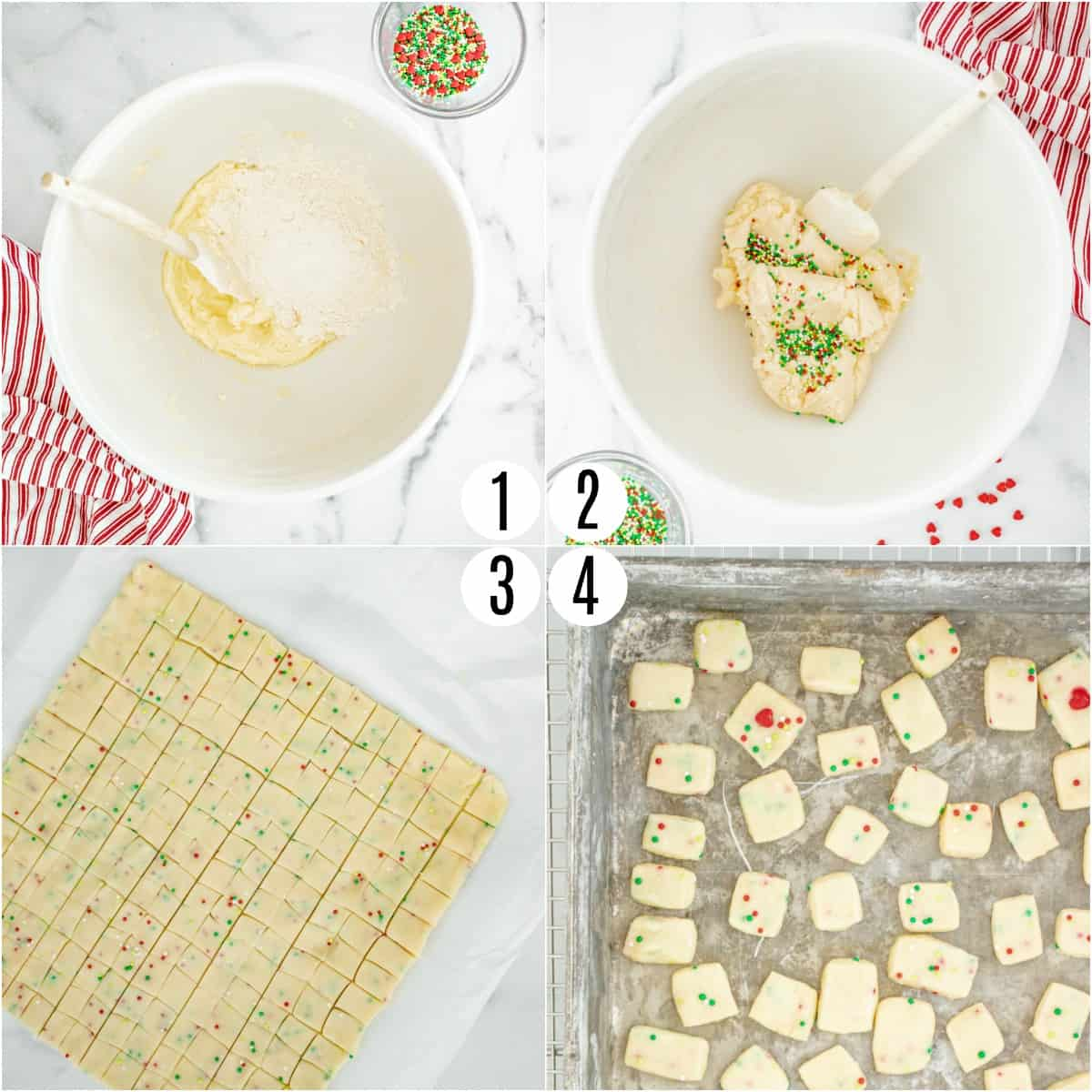 Step by step photos showing how to make shortbread cookie bites.