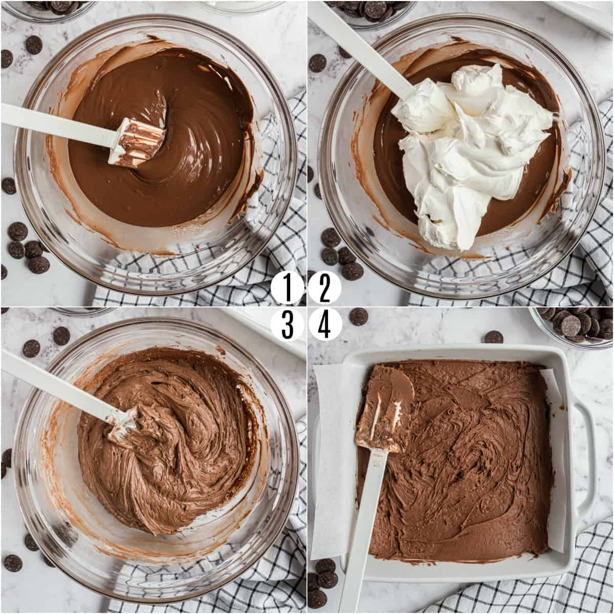 Step by step photos showing how to make cool whip candy.