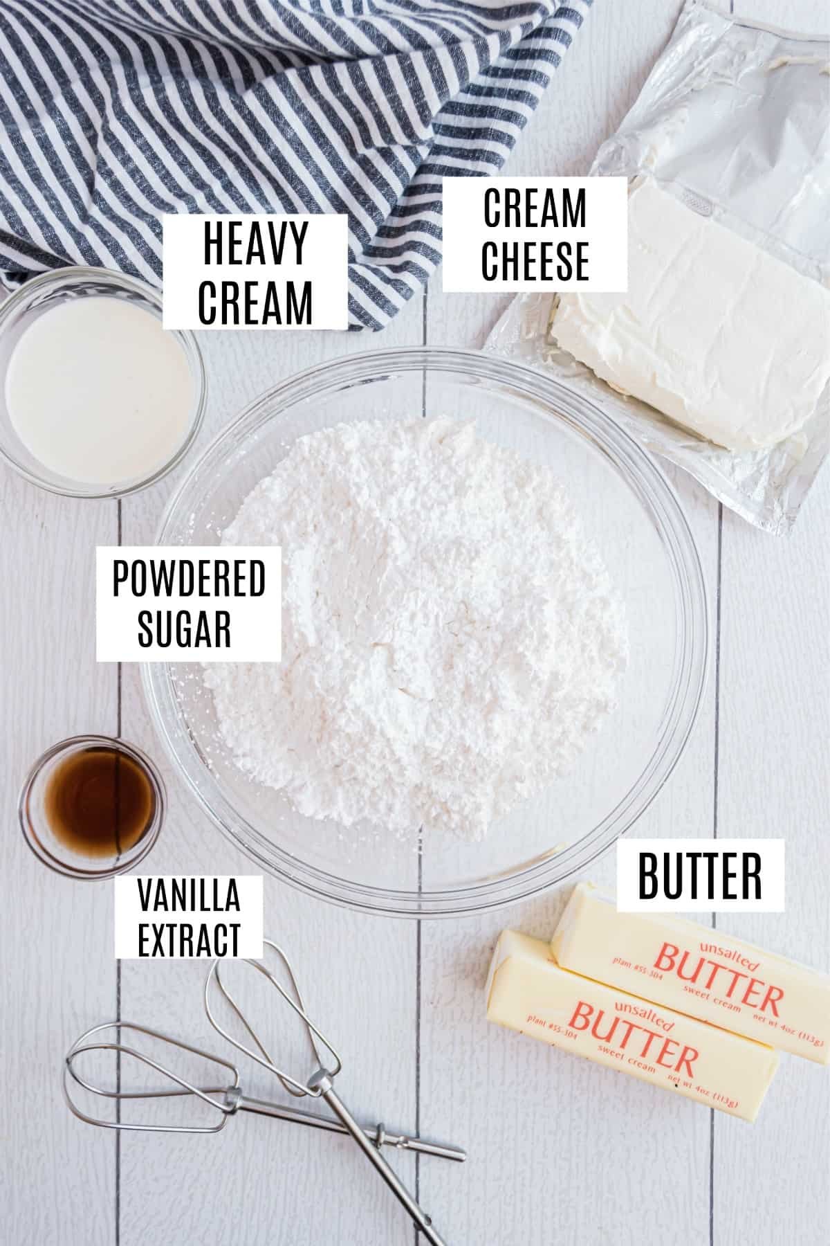 Only 5 ingredients needed to make cream cheese frosting from scratch.
